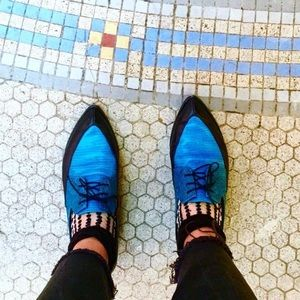 Funky blue and black loafers